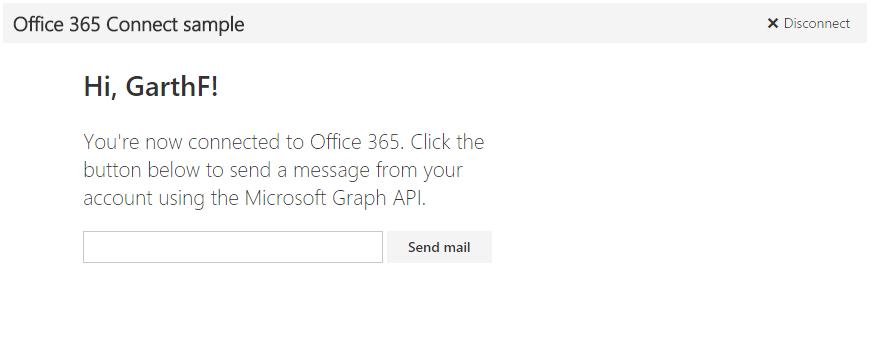 Screenshot des Office 365 Phyton Connect-Beispiels