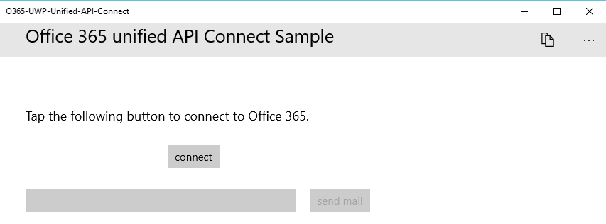 Screen showing the connect button enabled and the send mail button disabled