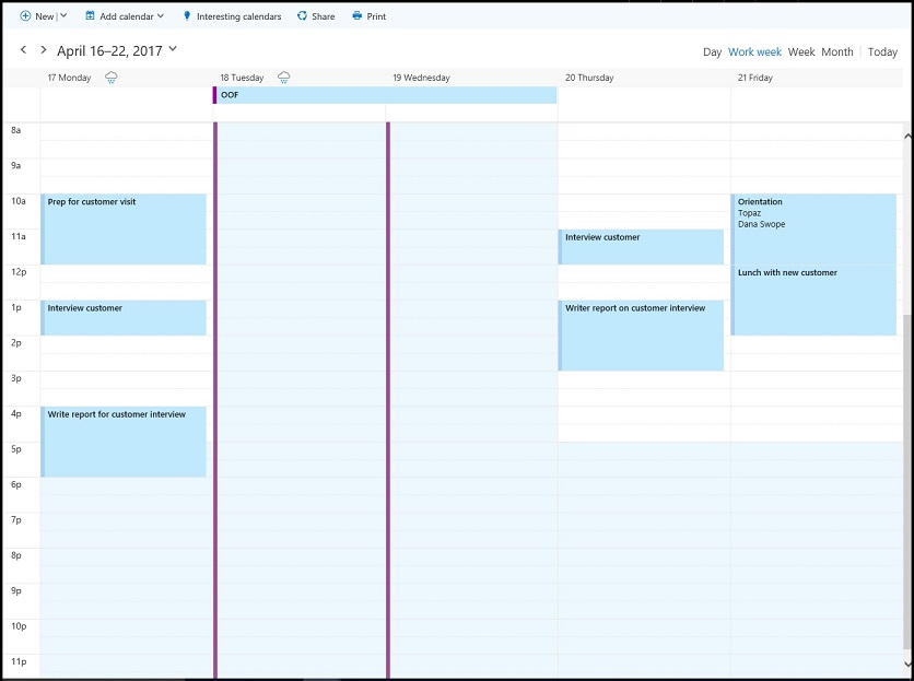 The attendee's work calendar for April 17-21 showing free-busy times