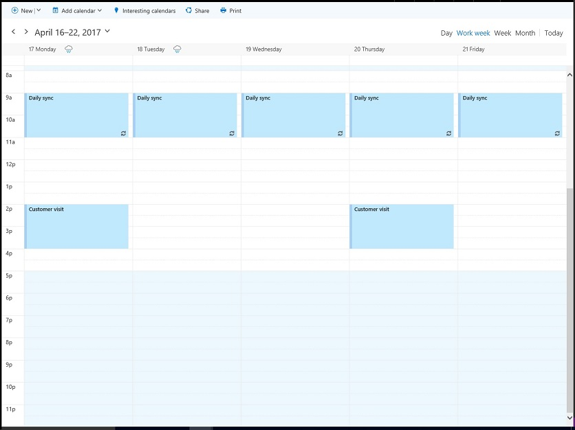 The organizer's work calendar for April 17-21 showing free-busy times