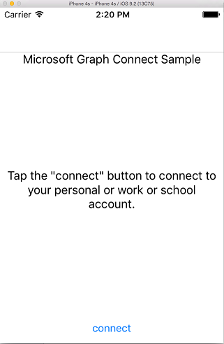 Connect sample on iOS