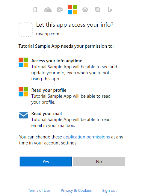 Consent dialog for Microsoft account