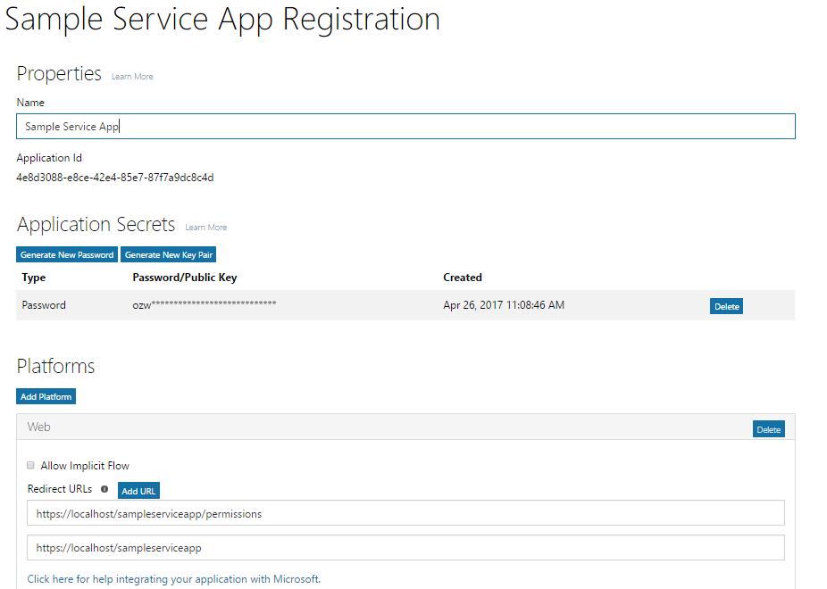 Service app registration