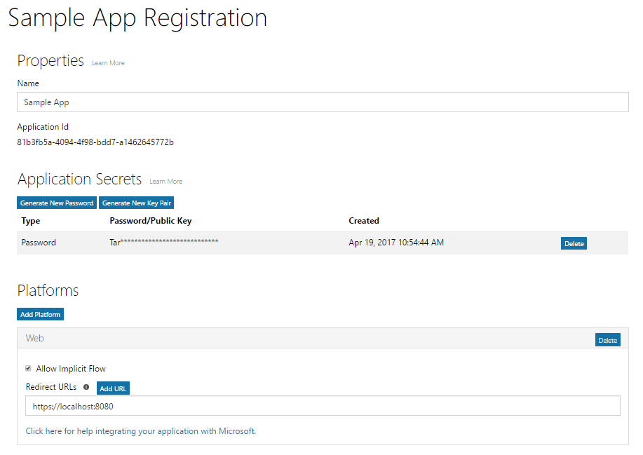 Web app registration with password and Implicit Grant.