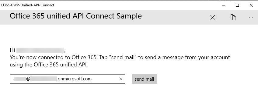 Screen showing the connected user's email address and the send mail button enabled