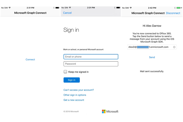 Connect sample walkthrough, shows connecting and sending a mail in the app