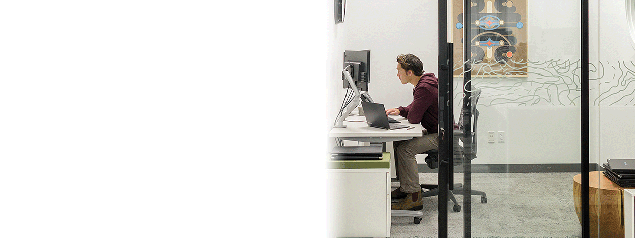 Man wearing headphones at work