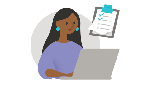 Ilustração de uma mulher trabalhando em um computador
