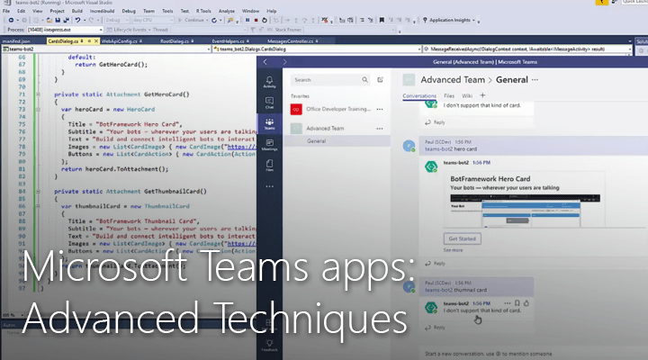 Screen capture taken from Microsoft Teams apps: Advanced Techniques video