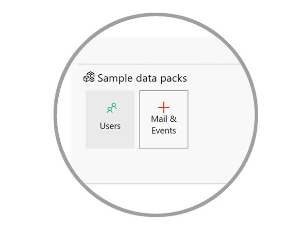 Sample data pack install buttons