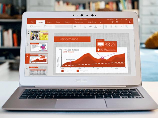Ein Computer, auf dem Office Online für Schularbeiten verwendet wird
