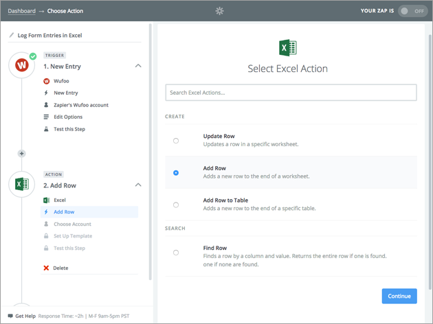 Image showing Zapier integration with Excel